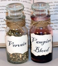 Vampire Blood and Vervain in Vintage Glass Potion Bottles