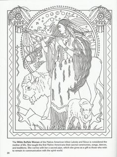 White Buffalo Woman Native American goddess challenging coloring pages for…