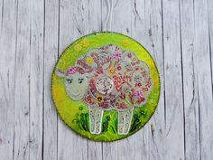 Sheep home decor, hand painted CD, nursery decor, kitchen ornament, housewarming gift, upcycled art, farm decor, yellow wall decor