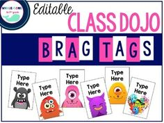 Do you use brag tags in your classroom? If not, you SHOULD! This product includes 20 editable brag tag templates with Class Dojo monsters.  Just type in the point increments that are appropriate for your classroom. Just print on cardstock, laminate (if you wish), hole punch in the top center, and add to a keychain or necklace!