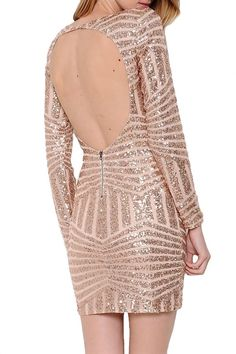 Bling Dynasty Open Back Sequin Dress - Rose Gold