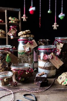 Edible Christmas Gifts In Jars including fudge brownies with Reeses and Espresso glazed nuts via halfbakedharvest Edible Christmas Gifts, Edible Gifts, Homemade Christmas, Christmas Baking, Christmas Cookies, Holiday Gifts, Christmas Diy, Christmas Recipes, Christmas Hamper
