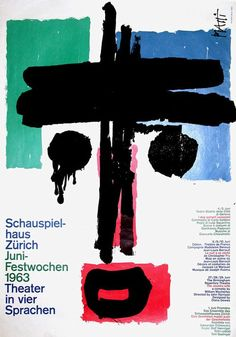 Schauspielhaus - Zurich by Piatti, Celestino Graphic Design Posters, Graphic Design Typography, Typography Drawing, Poster S, Poster Prints, Design Art, Print Design, Food Design, Illustration Design Graphique