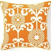 """Jiti Pillows""""Floret Cotton Square Pillow in Orange - comes in a short rectangle too"""