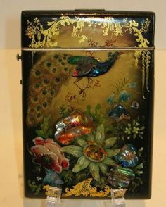 Exquisite Antique English Papier Mache Calling Card Case c.1840 Also a little over the top but a better composition and incredible craftsmanship.