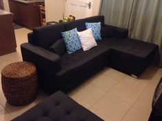 f2b44537a2c living room    throw pillows and ottoman from Mandaue Foam  sofa set from  Our Home