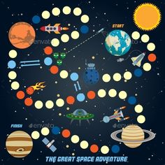 Buy Space Quest Game by macrovector on GraphicRiver. Space quest game with start finish and astronomy icons on background vector illustration. Space Games, Space Activities, Activities For Kids, Toddler Coloring Book, Coloring Books, Space Preschool, Board Game Design, Video Game Rooms, Toddler Books