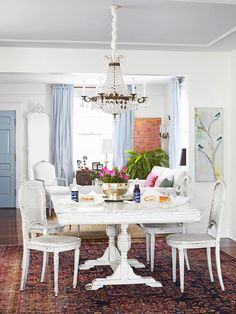 Shabby Chic dining room and restored chandelier #hgtvmagazine http://www.hgtv.com/decorating-basics/restoring-your-home-after-a-natural-disaster/pictures/page-7.html?soc=pinterest