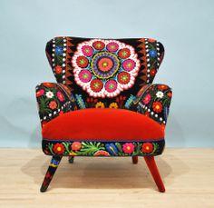 Suzani+armchair++orange+sun+por+namedesignstudio+en+Etsy,+$1.600,00