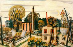 Max Beckmann - Landscape near Frankfurt (with Factory)