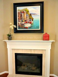 Inspiration for a simple fireplace mantel