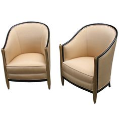 Pair of French Art Deco Bergeres in the Style of Paul Follot | From a unique collection of antique and modern bergere chairs at http://www.1stdibs.com/furniture/seating/bergere-chairs/