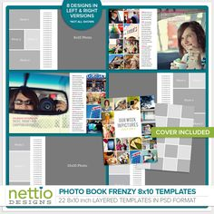 VIEW CART SHOP HOME Photo Book Frenzy 8x10 Templates $18.99 Some digital scrapbooking projects scream for a modern, magazine-style photo-focused design. If that's what you're looking for, then thes...
