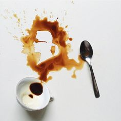Giulia Bernardelli, an artist who uses spilled cups and coffee stains as a starting point for her illustrations