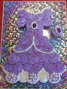 My Princess Sofia cupcake cake with amulet cupcake for birthday girl