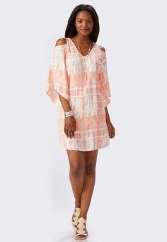Cato Fashions Tie Dye Cold Shoulder Shift Dress #CatoFashions