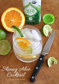 Skinny Aloe Cocktail Recipe. A perfect low calorie summer drink! LivingLocurto.com