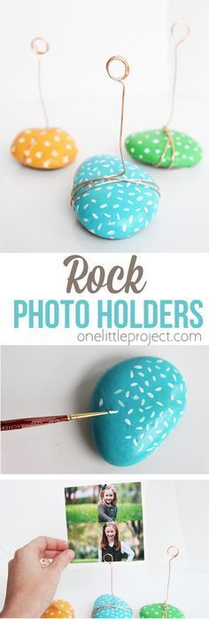 These ADORABLE photo holders take no time to make and are such a great kids craft! || Cute rock panting DiY project that is functional too.