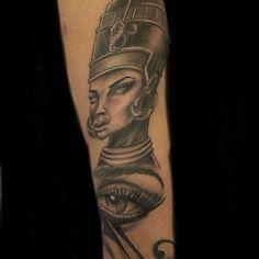 Nefertiti Tattoo - Tattoospedia Nefertiti Tattoo, Portrait, Tattoos, Tatuajes, Headshot Photography, Tattoo, Portrait Paintings, Drawings, Portraits