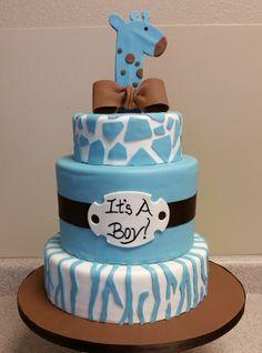 Safari themed baby shower cake #safarithemedbabyshowercake #itsaboycake #giraffebabyshowercake