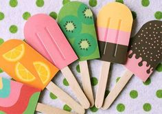 Invitaciones cumpleaños infantiles: Ideas manualidades - Invitaciones para cumpleaños infantiles en forma de helados
