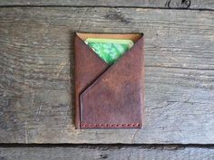 Goat Leather Wallet Card holder (hand stitched) LIMITED EDITION. Packed in wooden box by ArtNotebooks on Etsy