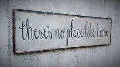 There's No Place Like Home Wood Sign Inspirational Wooden Sign Large Wooden Sign Typography Word Art Distressed Sign Christmas gift by leapoffaithsigns on Etsy https://www.etsy.com/listing/249457147/theres-no-place-like-home-wood-sign