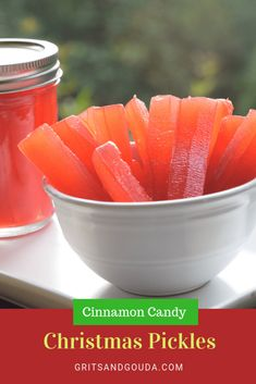 """Cinnamon Candy Christmas Pickles is one of those recipes you will either adore because Grandma always made them or you will say """"What in the world!"""" I couldn't stop eating them! Pickled Watermelon Rind, Watermelon Pickles, Watermelon Rind Candy Recipe, Stop Eating, Clean Eating, Canning Recipes, Candy Recipes, Canning 101, Fall Recipes"""