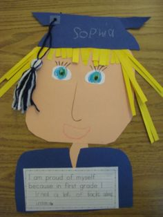 First grade graduation craft.we can adapt this for kindergarten! Graduation Crafts, Pre K Graduation, Kindergarten Graduation, Kindergarten Crafts, Classroom Crafts, Kindergarten Classroom, Classroom Activities, Graduation Ideas, Classroom Ideas