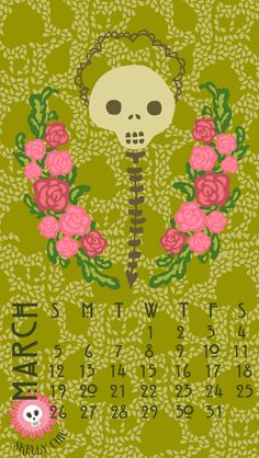 Time to freshen up your desktop & phone with my rosy skellies! Happy March! www.skellychic.com