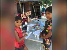 Young volunteers from First Presbyterian Church of Newhall color and play with the local children during the October mission trip to Mexico. Photo courtesy of First Presbyterian Church of Newhall.