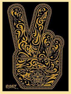 Shepard Fairey, 'Peace Fingers Street Art for ACLU: Benefit Auction 2017 Hamsa, I Tattoo, Cool Tattoos, Awesome Tattoos, Shepard Fairey Art, Shepard Fairy, Peace Fingers, Street Art Graffiti, E Design
