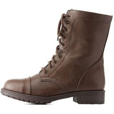Charlotte Russe Lace-Up Combat Boots (84 TND) ❤ liked on Polyvore featuring shoes, boots, ankle booties, brown, chunky booties, block heel booties, army boots, brown lace up boots and brown ankle booties