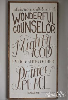 "Dear Lillie: Our ""And His Name Shall Be Called..."" Oversized Wood Sign and Some Simple Winter Touches in the Dining Room"