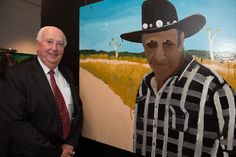 2013 Major Award Night – Black Swan Prize for Portraiture.   Founding Sponsor Dick Lester with the winning portrait by Richard Lewer.  This national art competition, held in the heart of Perth, featured 40 stunning portraits by Australia's finest portrait artists.  Artists were vying for the $45,000 Lester Prize and the $7,500 People's Choice Prize. #portraiture, #art, #prize, #blackswanprize, #archibaldprize, #painting, #perth, #portrait, #portraitpainter