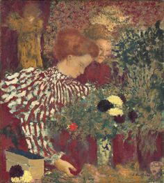 """Edouard Vuillard, """"Woman in a Striped Dress,"""" 1895, oil on canvas, National Gallery of Art, Washington, Collection of Mr. and Mrs. Paul Mellon"""