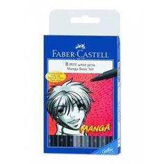 Faber Castell 8 Pitt Artists Pen Manga Basic Set - Grey and Black Assorted