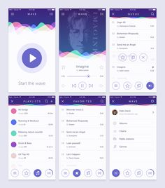 Wave iOS music app concept on Behance - Design Web Design, Ios App Design, Flat Design, Graphic Design, Mobile Application Design, Mobile Ui Design, Design Thinking, Site Portfolio, Iphone Ui