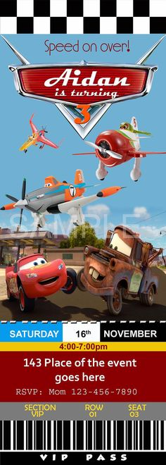 Disney Cars and Planes Invitation. Cars and Planes Invitation.