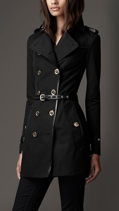 Mid-Length Cotton Gabardine Leather Detail Trench Coat | Burberry