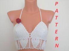 Crochet Halter Top Pattern Bikini Pattern Bikini Top | Etsy Crochet Shorts Pattern, Crochet Halter Tops, Crochet Bikini Top, Crochet Patterns, Baby Bikini, Jamel, Bustiers, Top Pattern, Free Pattern