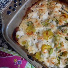 Saudável como um pêro... sem desespero!: Filetes de pescada gratinados com legumes e batata-doce