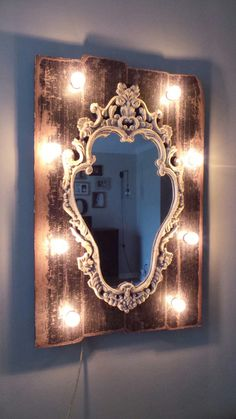 Shabby Chic Decorative Mirror With Globe Lights by marqueemarket