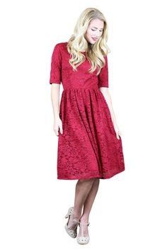 Haley Modest Dress in Red Lace - beautiful modest bridesmaid dress or great for a dance or for church- only $64.99