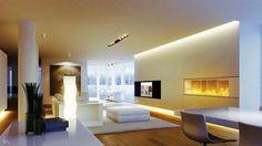 éclairage indirect led -plafond-cheminee-moderne-salon-blanc