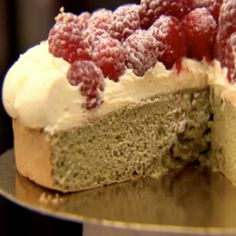 This sponge cake has a delightful, subtle hint of green tea which is complimented by the white chocolate and raspberry flavours and would work really well as dinner party centrepiece.