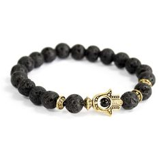 Lava Stone and Gold Hamsa Bracelet. The Hand of Hamsa is a popular good luck symbol, said to protect and bring happiness to the owner. Lava rock is a grounding stone and can help you connect with nature. Hamsa, Agate Gemstone, Gemstone Jewelry, Boho Jewelry, Stretch Bracelets, Beaded Bracelets, Swarovski, Black Agate, Unisex