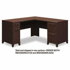 "Bush Industries 2930MCA103 L-Shaped Desk, 60 in.x60 in.x30 in., Box 1 of 2, Mocha Cherry by Bush. $344.72. Box 1 of 2. Mocha Cherry. Sold Individually as 1 Each. 60 in.x60 in.x30 in.. Enterprise Collection features 1"" thick thermally fused surfaces that resist stains and scratches and integrated wire/cable management system. All desks come with a four-port USB hub to allow multiple computer peripheral connections. Corner Solutions include micro hutch, tackboard..."