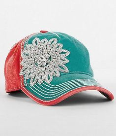 a678769f1ef Olive   Pique Color Block baseball cap with a handmade rhinestone bling  flower Cute Hats