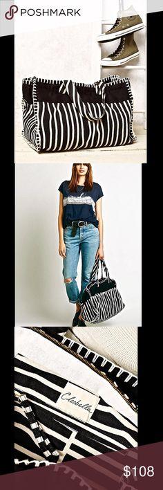 Selling this Free People Cleobella black white Striped Tote Bag on Poshmark! My username is: richbororiches. #shopmycloset #poshmark #fashion #shopping #style #forsale #Free People #Handbags